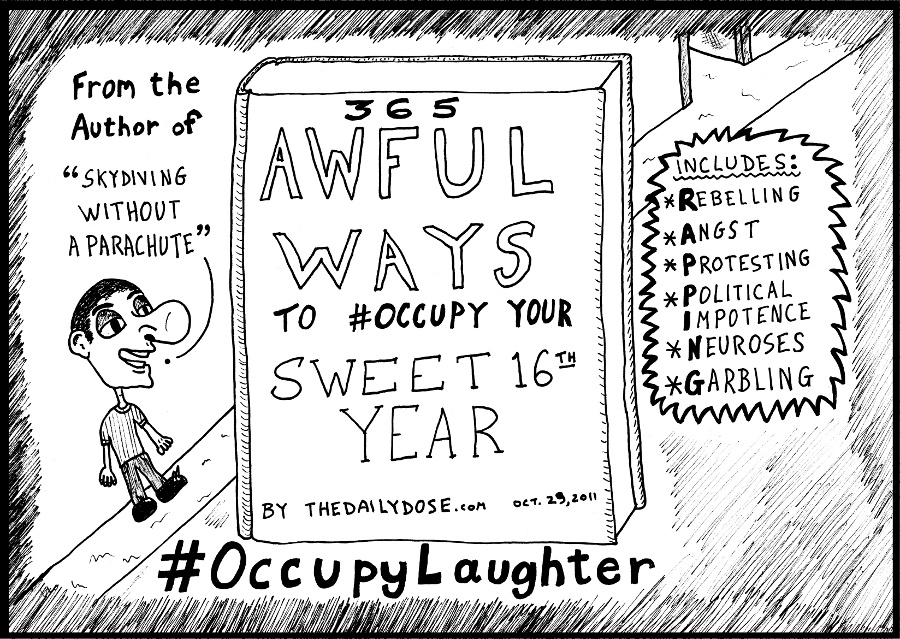 Book You Never Read > 365 Ways to #Occupy your Sweet 16th Year > title cover cartoon #OccupyLaughter comic strip caricature by laughzilla for the daily dose