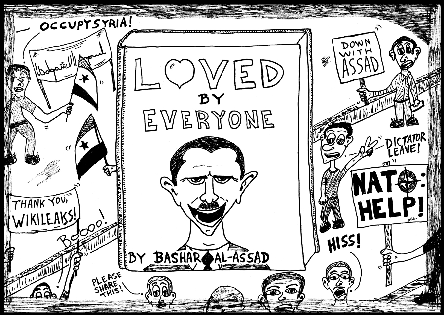 Book You Never Read > Loved by Everyone > title cover cartoon #OccupySyria comic strip caricature by laughzilla for the daily dose