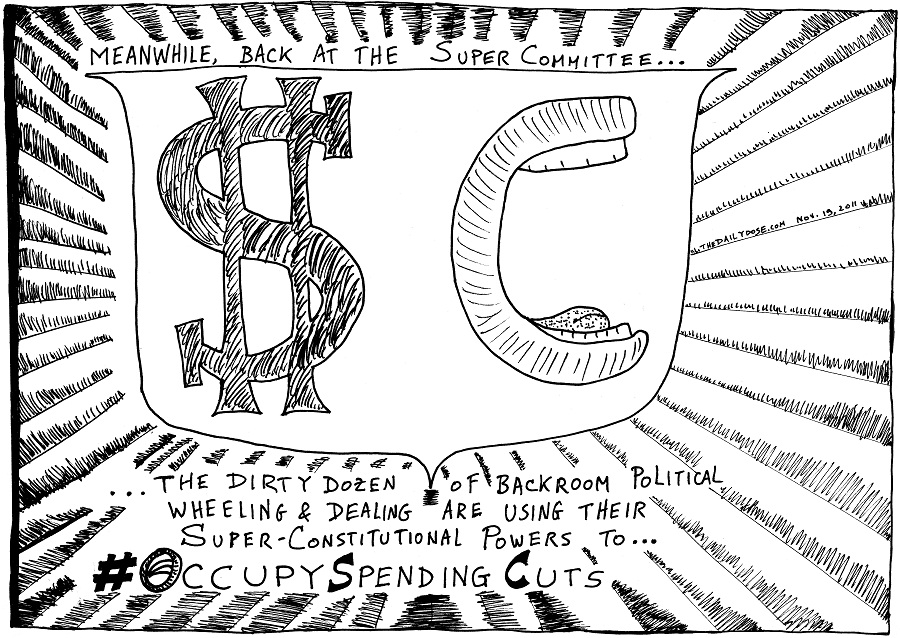 occupy spending cuts editorial cartoon by laughzilla for thedailydose.com