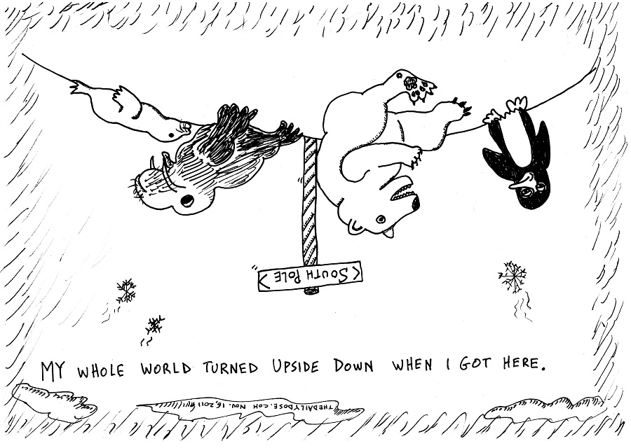 polar bear south pole editorial cartoon by laughzilla for thedailydose.com