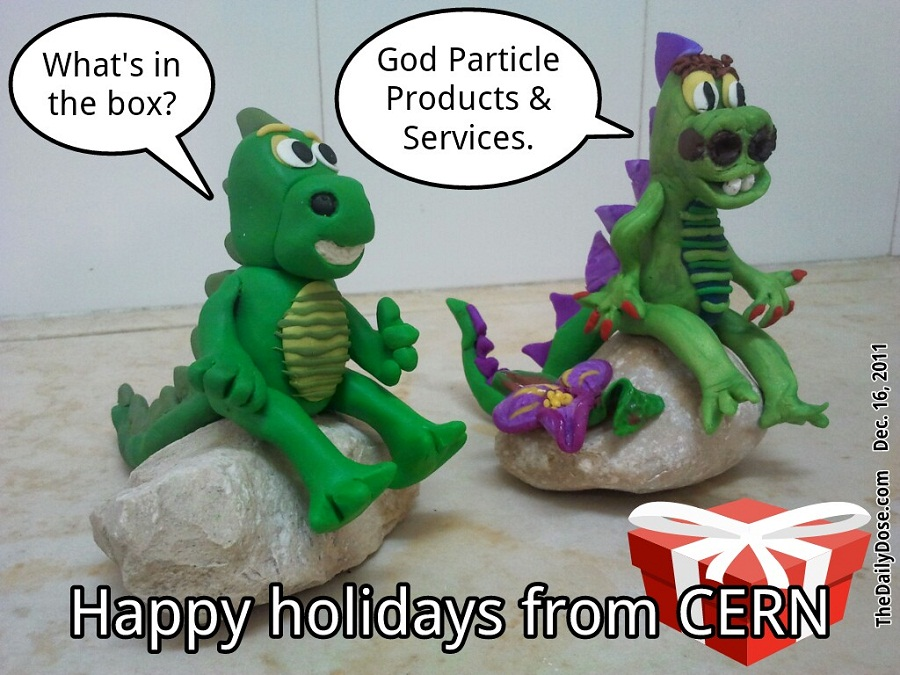 laughzilla winter holiday greeting card about CERN and the God particle
