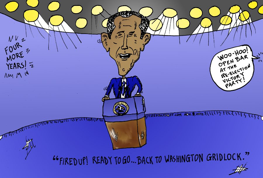 President Obama Caricature Reelection Victory Message