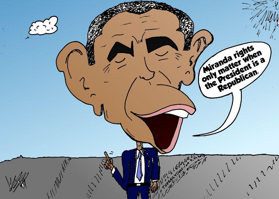 President Obama Caricature On Boston Bomber Miranda Rights