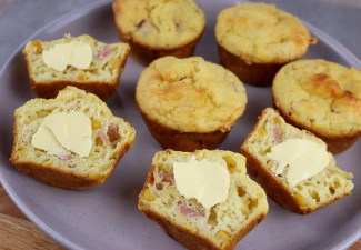Cheese, Bacon& Corn Muffins