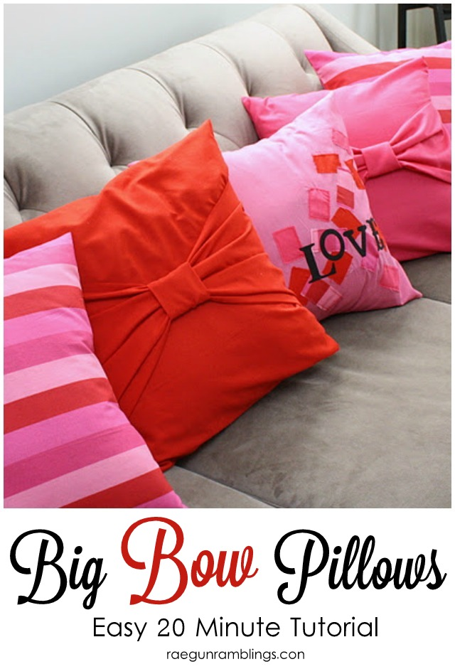 Easy 20 minute sewing tutorial for big bow pillow cases