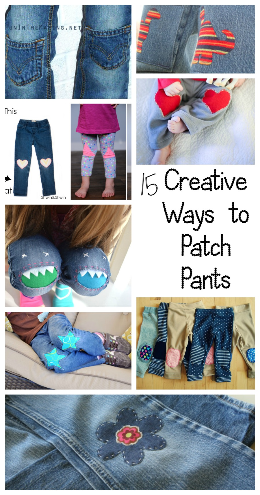 Lots of fun ways to upcylce hole-y pants. So many awesome patches.