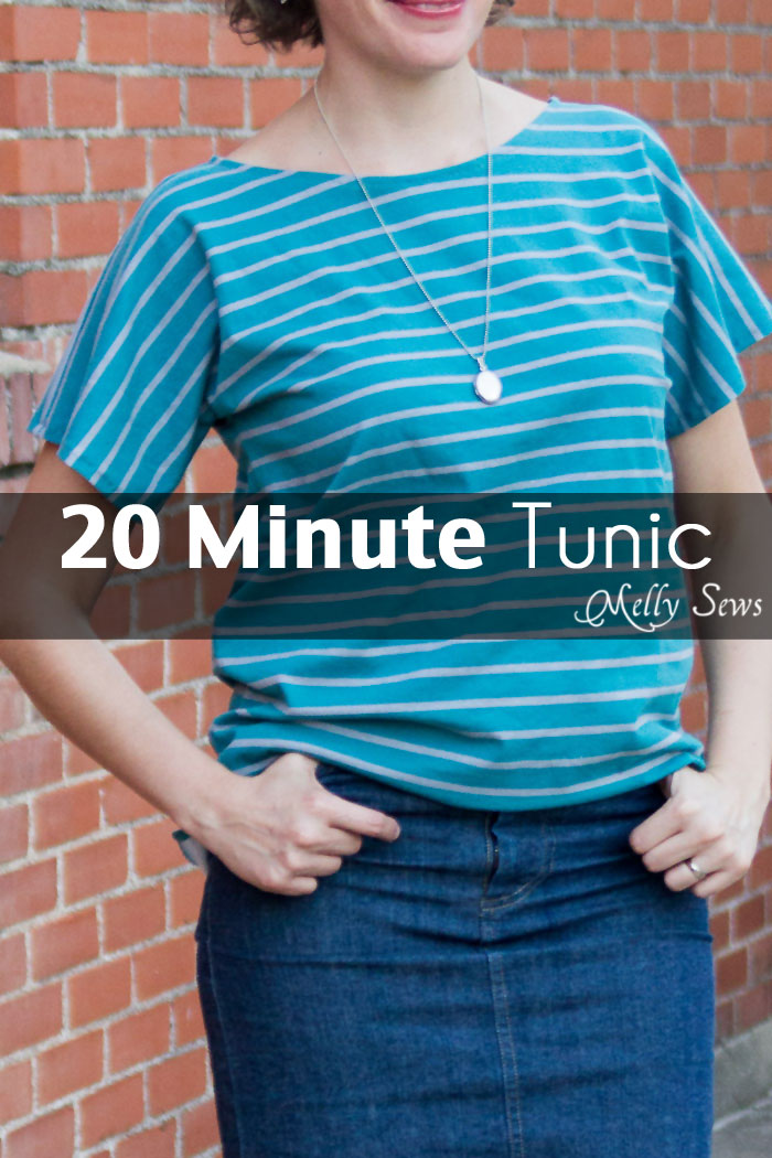 Sew a tunic top in 20 minutes - for any size! - with this tutorial from Melly Sews