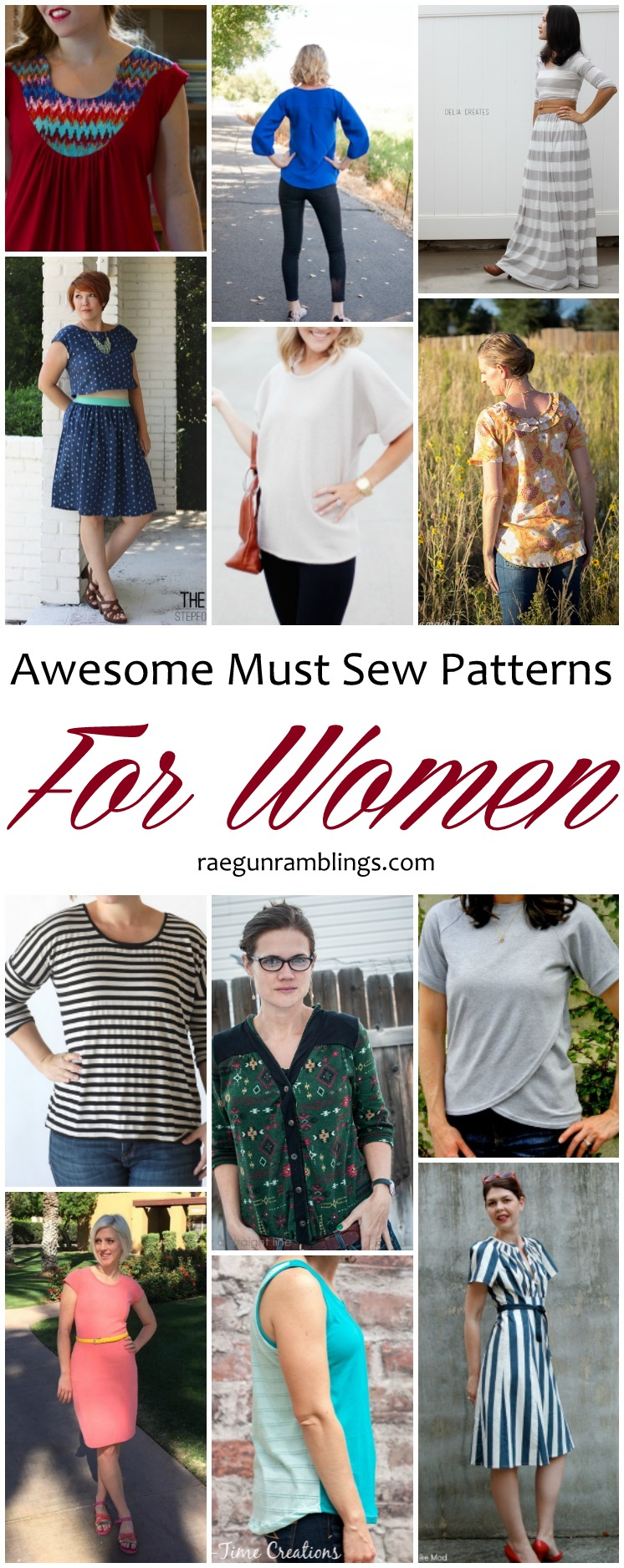 12 must sew patterns for women. Great flattering DIY fashion.