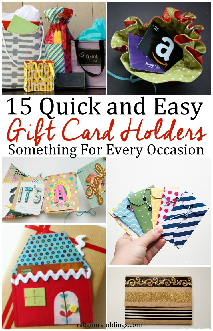 15 awesome DIY gift card holder tutorials. Quick and easy tutorials perfect for any celebration or holiday.