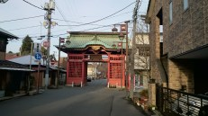 The big red gate marks the entrance to the temple.