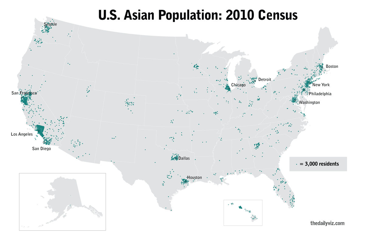 this map made with arcgis visualizes that population with a dot density map each dot represents 3000 residents per county