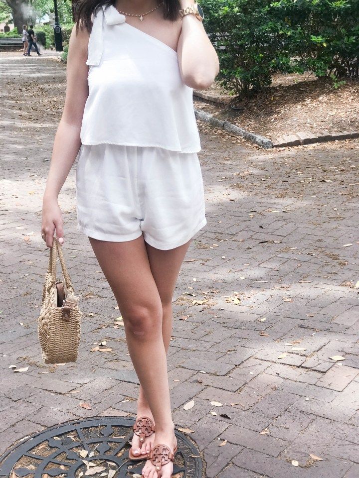 one shoulder white romper 1