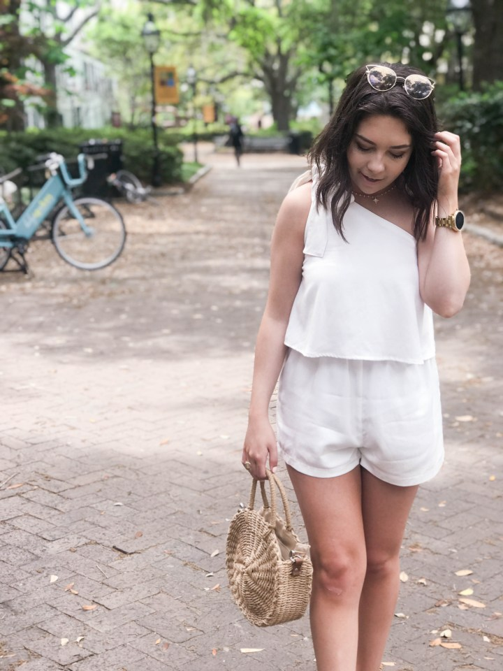 one shoulder white romper 4