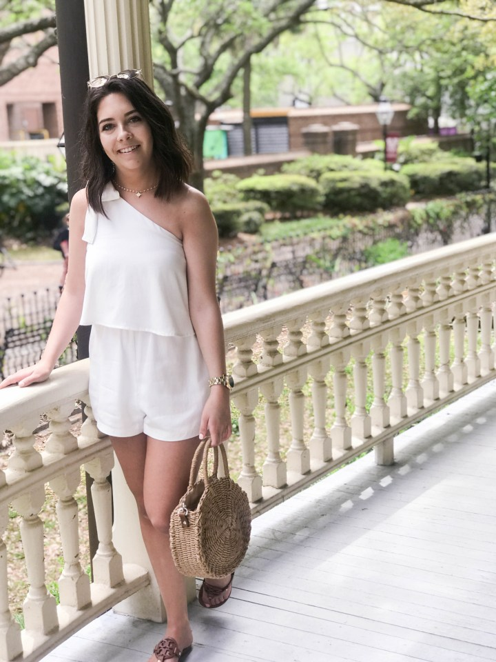 one shoulder white romper 5