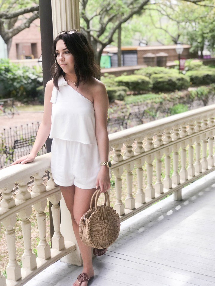one shoulder white romper 6