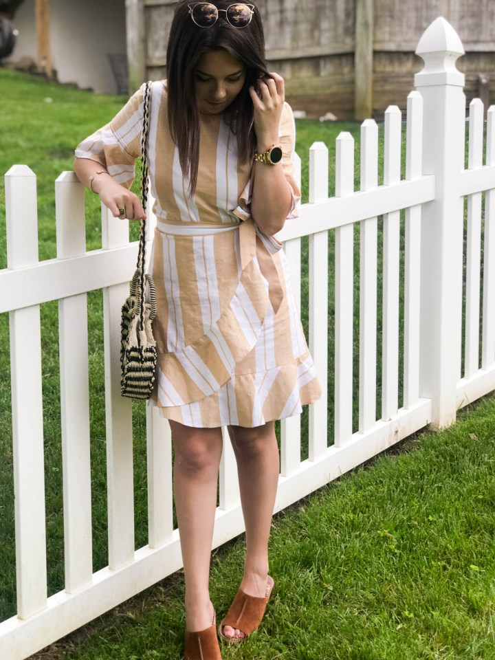 striped wrap dress + my favorite new shoes 6