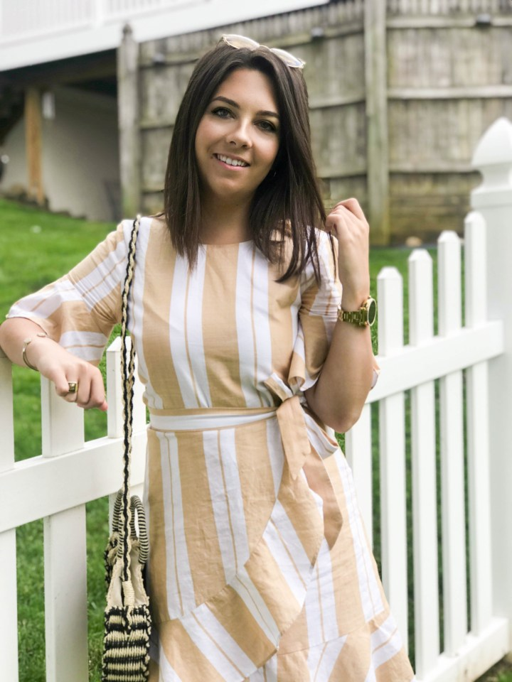 striped wrap dress + my favorite new shoes 9