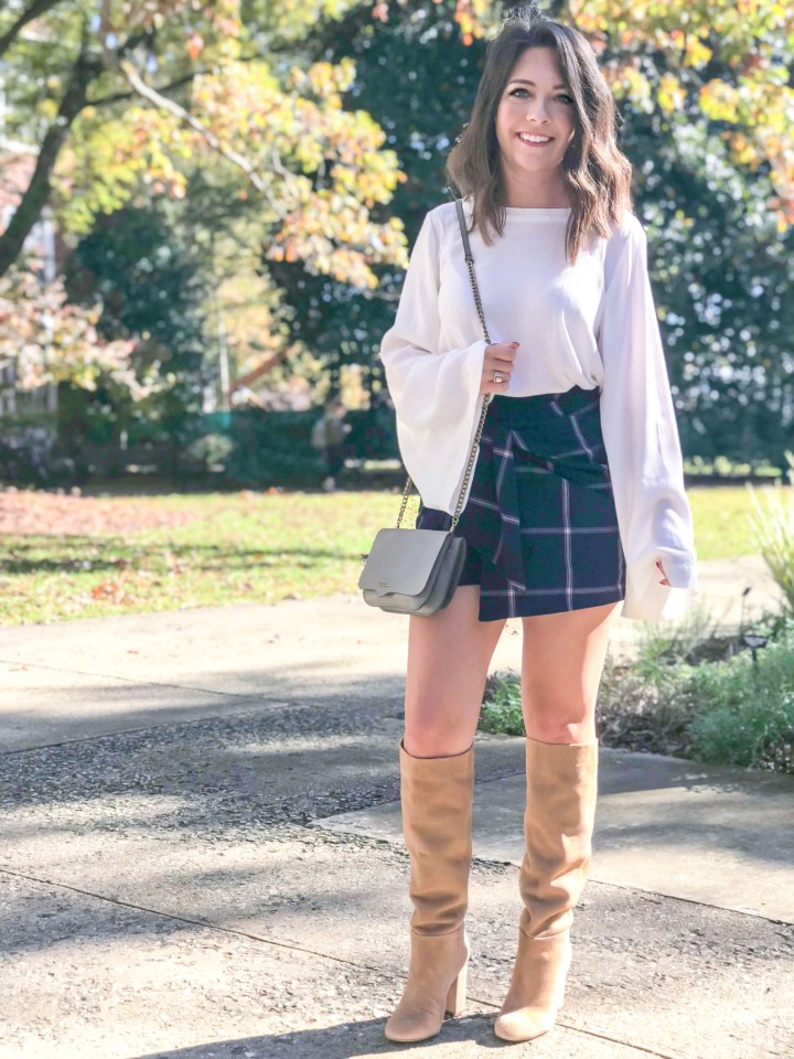 plaid skirt + knee high boots 4