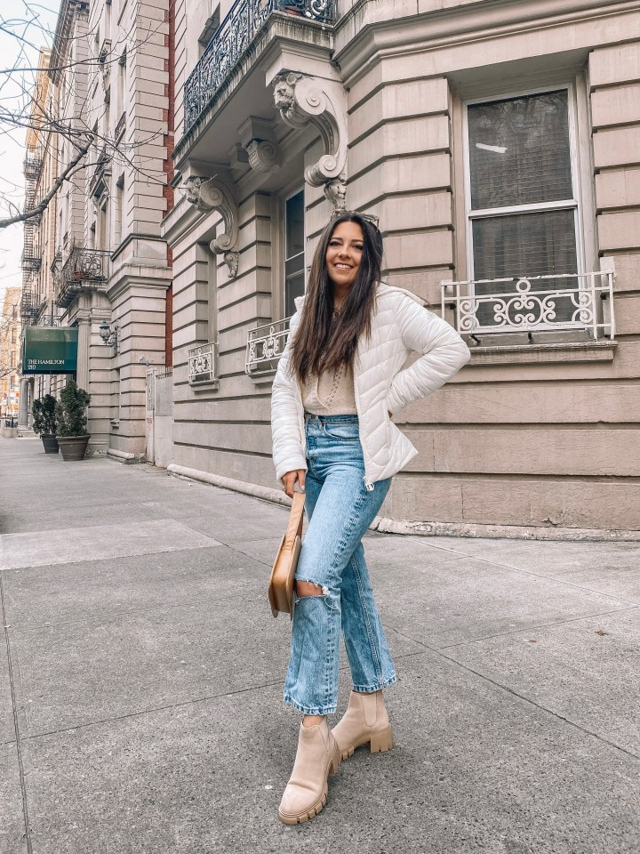monochrome puffer jacket outfit