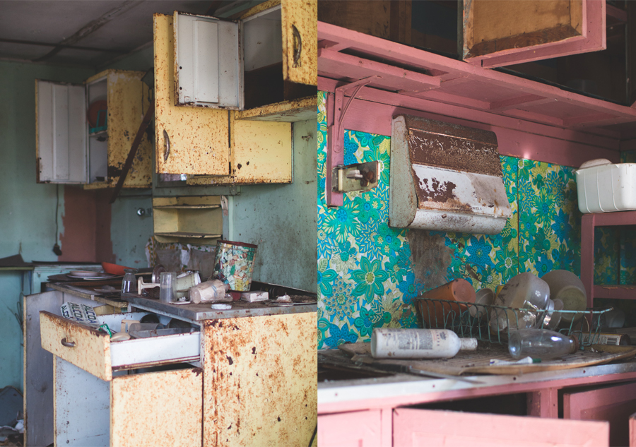 yellow kitchen, abandoned, abandonedment