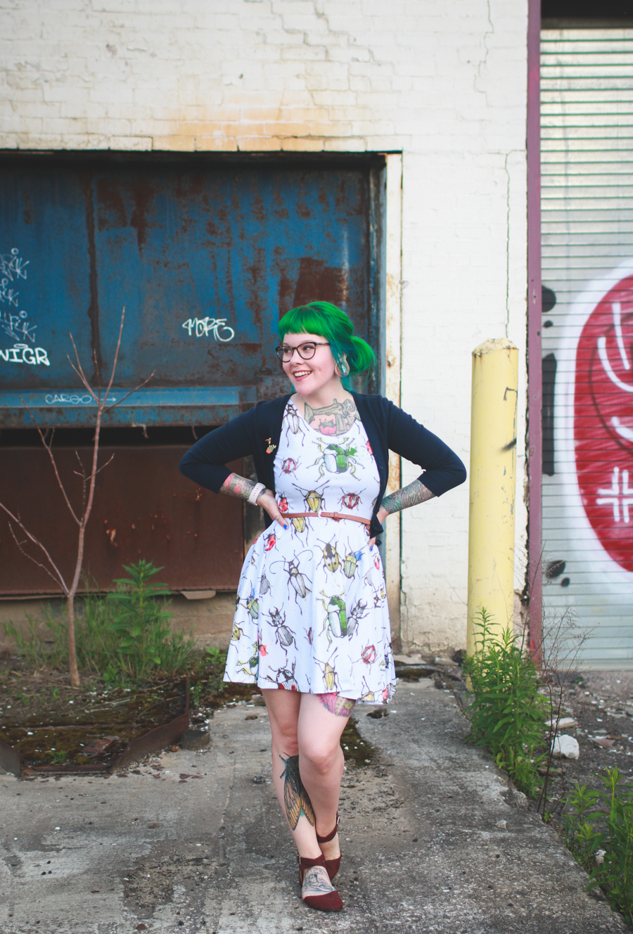 kaylah doolan, beetle dress, bug dress, cowcow, green hair