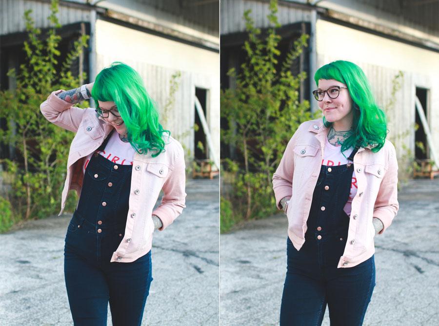 cleveland fashion blogger, green hair, pink demin jacket, target style, kaylah doolan, cleveland