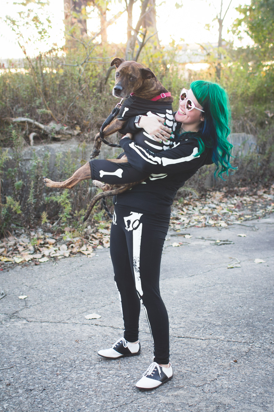 skeleton dog costume, green hair, skeleton leggings
