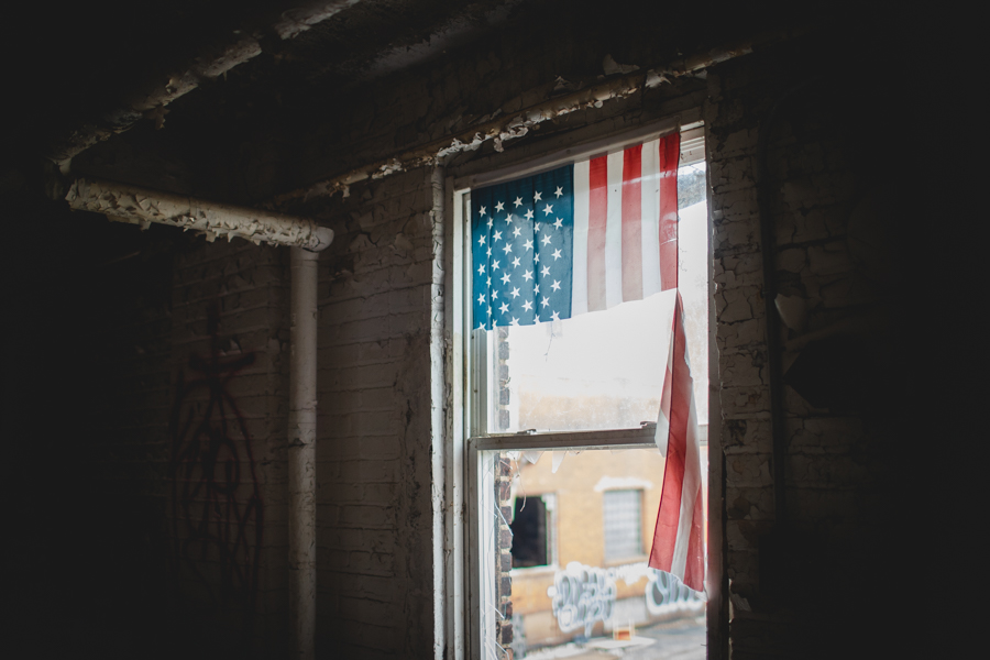 flag in an abandoned building