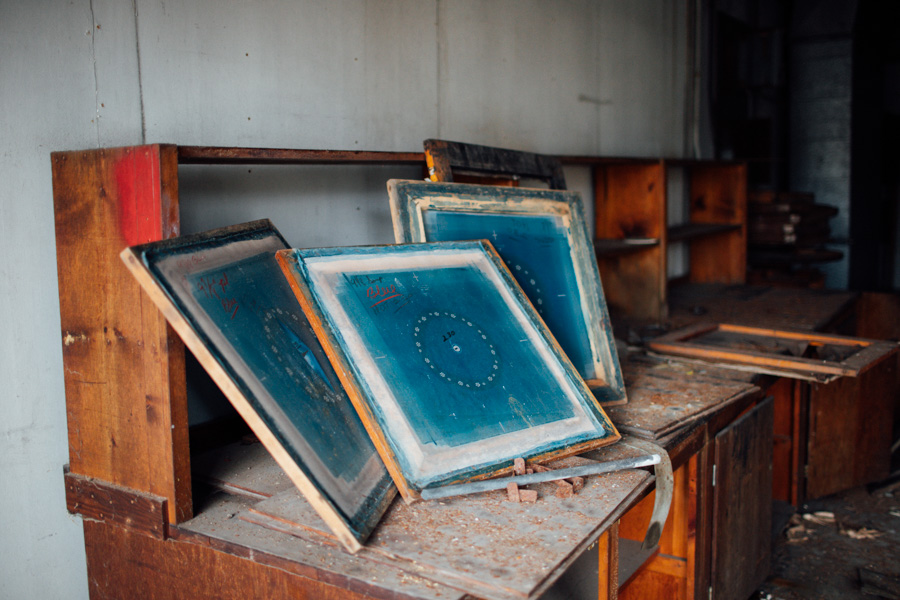 silkscreens in an abandoned factory