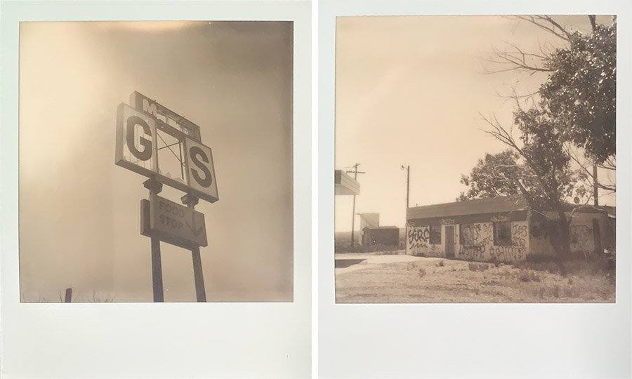 Polaroid Originals OneStep2 of an abandoned gas station