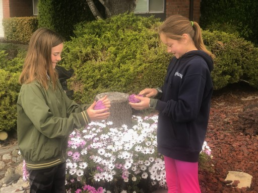 girls playing with play dough outside near a bed of daisies