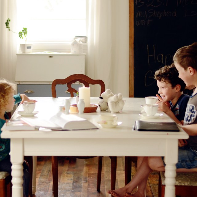 children sitting at a table
