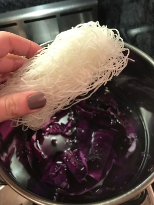 Drop in the glass noodles