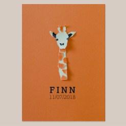 Geboortekaart Giraf jongen meisje unisex oranje