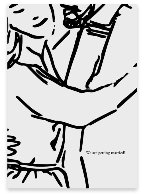 """Trouwkaart """"Dancing"""" // Digitale download // Drukklaar // Zwart-Wit // Simpel // Minimalistisch // Lijntekening // Tekening // Illustratie"""