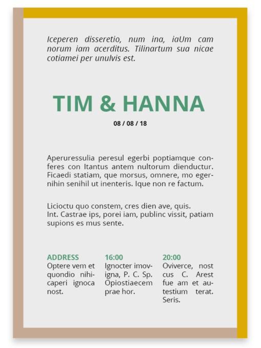 Trouwkaart // Digitale download // Drukklaar // Color blocking // Simpel // Minimalistisch // Groen // Geel // Typografie // Stoer