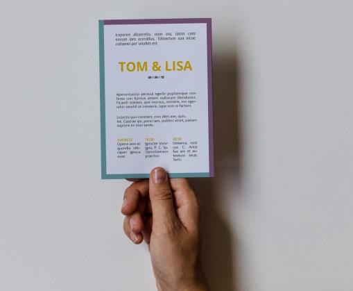 Trouwkaart // Digitale download // Drukklaar // Color blocking // Simpel // Minimalistisch // Paars // Blauw // Typografie