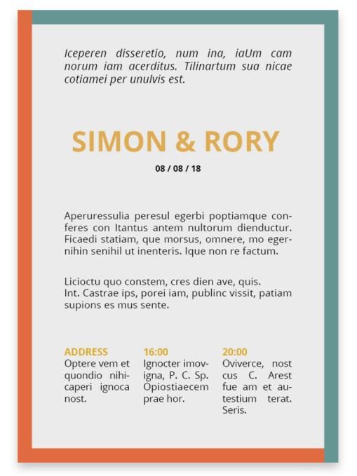 Trouwkaart // Digitale download // Drukklaar // Color blocking // Simpel // Minimalistisch // Blauw // Oranje // Typografie // Stoer