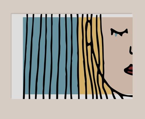 Wall Art Poster 'Ze hield van hem'// Art Print // Poster // Lijntekening // Simpel // Traan // Liefde