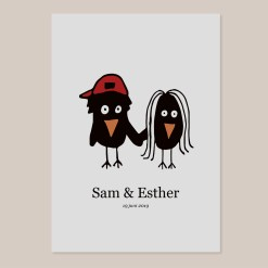 Trouwkaart vogels illustratie