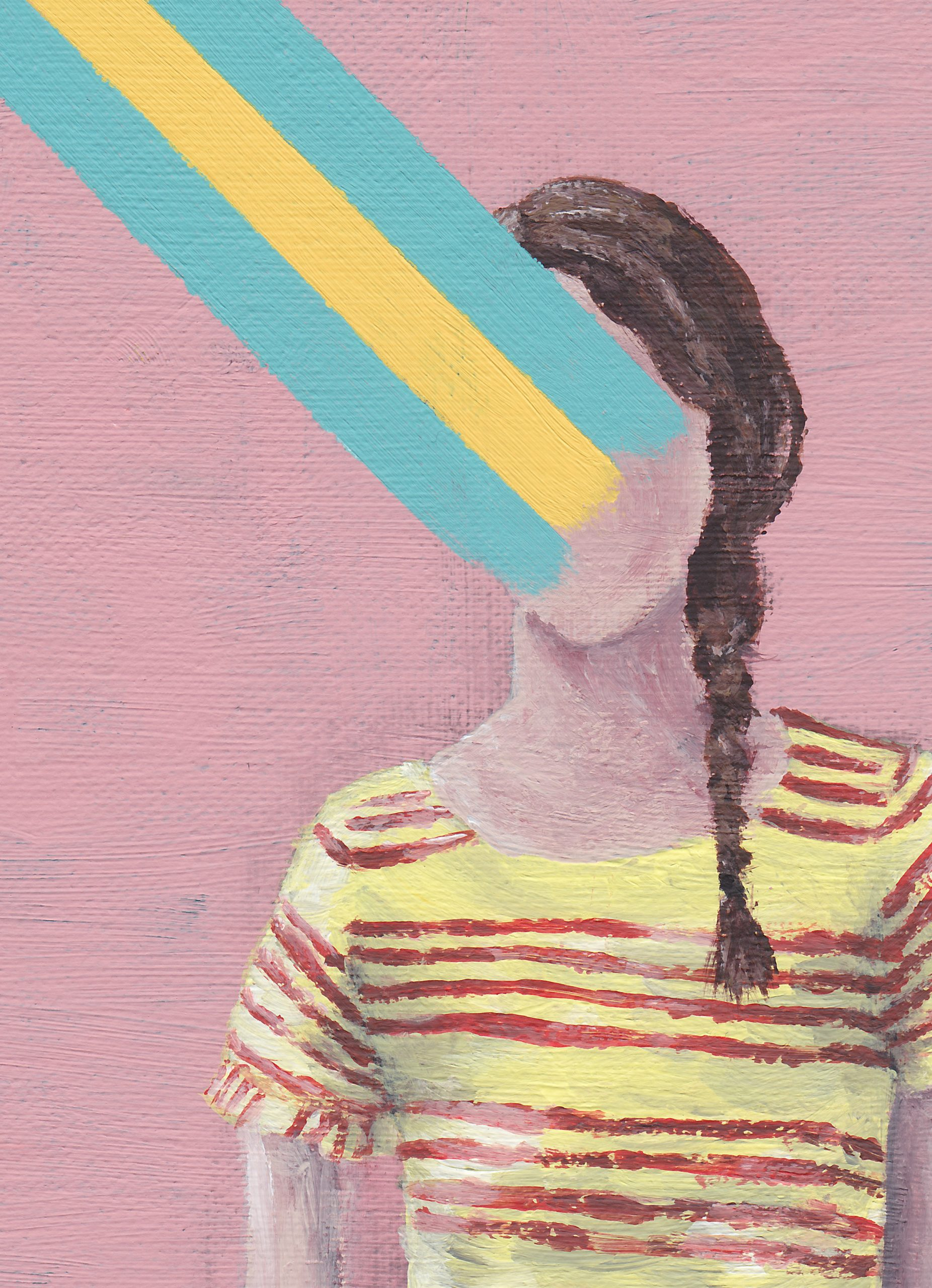 An acrylic painting with a bright pink background. On it is a girl with a side braid in a yellow-red striped dress. Blue en yellow stripes flow out of her face. The title of the artwork is 'Let Go'
