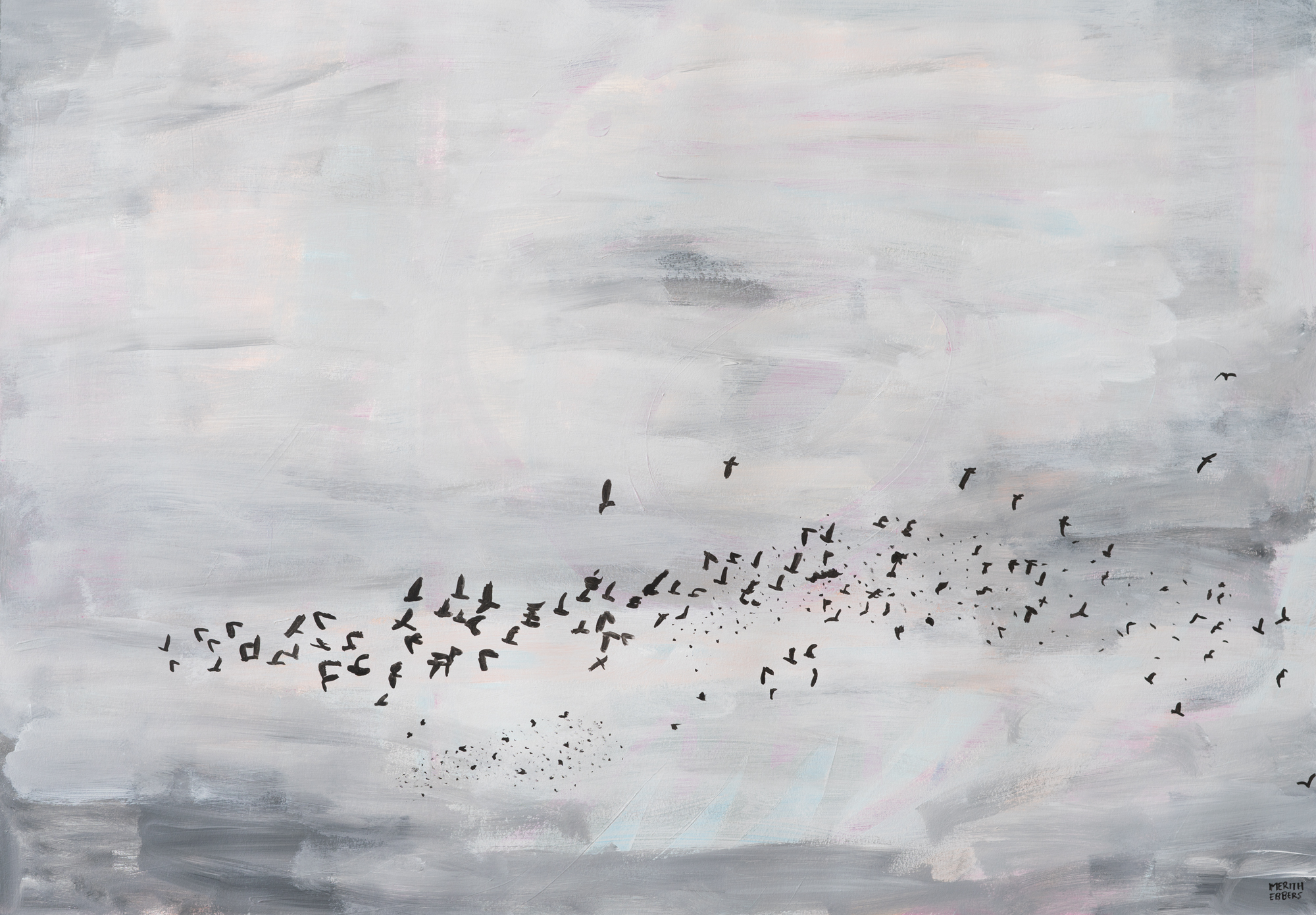 An acrylic painting of a flock of birds flying through the air