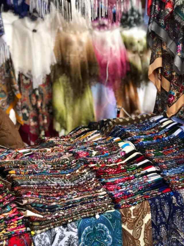 scarves at izmailovsky market Moscow