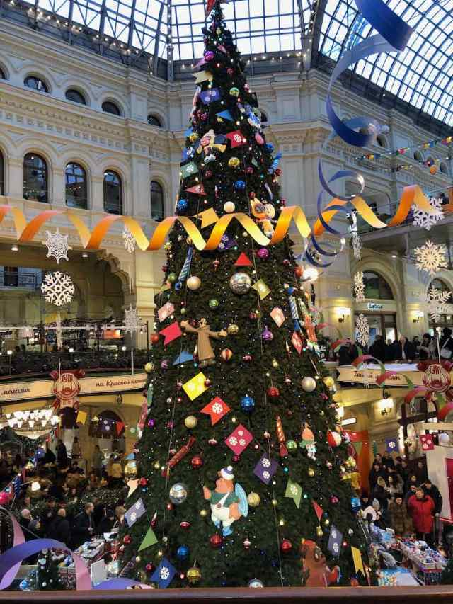 Christmas Tree Inside GUM department store in Moscow