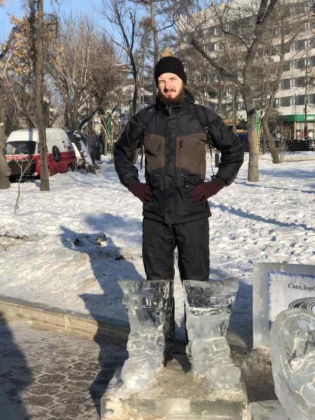 Snow boots ice sculpture Kirov Square - Irkutsk
