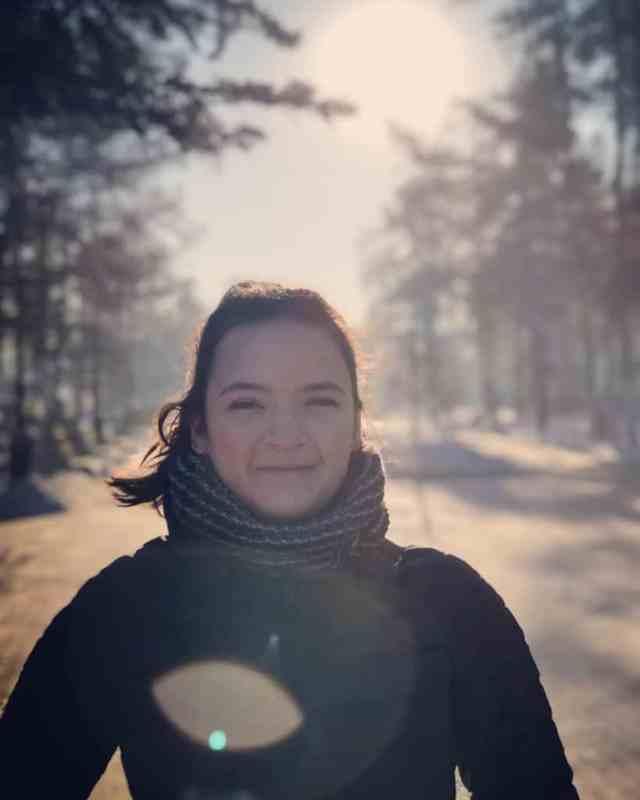 Girl standing on Lenina Street, Irkutsk russia in the sunshine