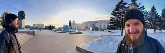 panoramic picture of lenin head statue in ulan ude