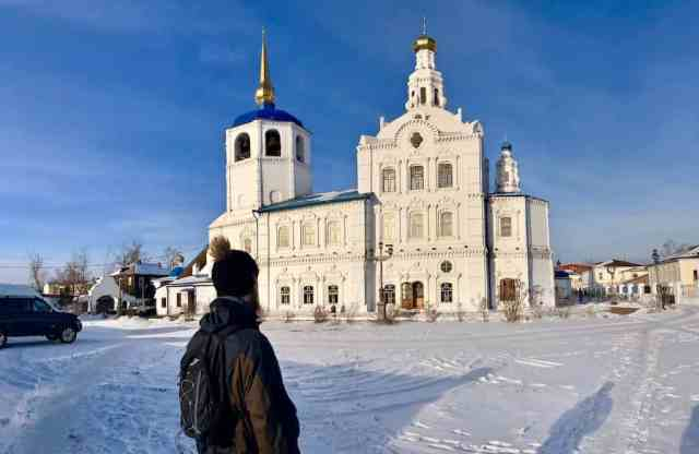 Holy Odigitrievsky Cathedral in snow and sun in Ulan-ude