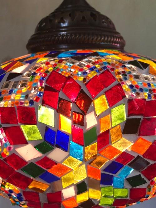 22cm Mosaic Ceiling Light Red Flower close up