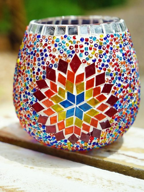 Sun 13cm Mosaic Glass Candle Holder